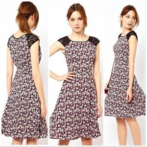 ASOS Floral and Lace Skater Dress